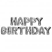 40 cm Gümüş Gri Happy Birthday Yazılı Harf Folyo Balon Seti