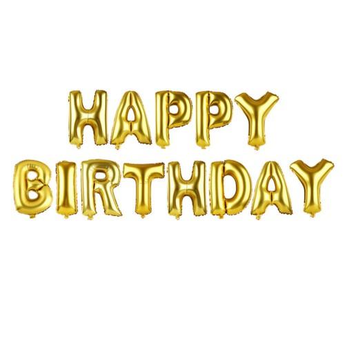 40cm Gold Altın Rengi Happy Birthday Yazılı Harf Folyo Balon Seti
