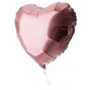 45cm Toz Pembe Bakır Rengi Kalp Folyo Balon, Helyumla Uçan