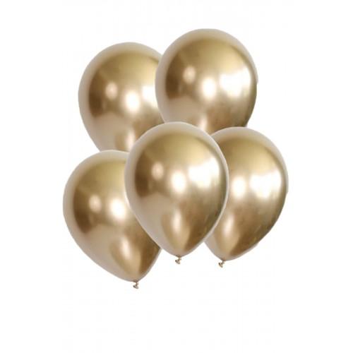 5 Ad 1.Kalite Gold Altın Renkli Parlak Krom Metalik Aynalı Balon