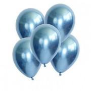 5 Ad 1.Kalite Mavi Renkli Parlak Krom Metalik Aynalı Balon