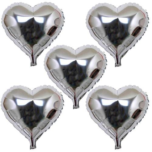 5 Ad Gümüş Gri Folyo Kalpli Balon 60cm Helyumla Uçan Sevgiliye