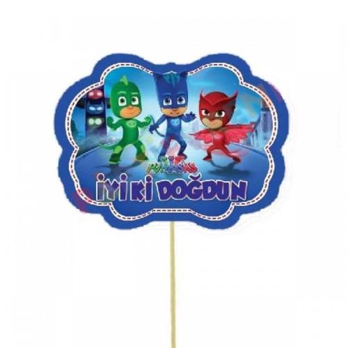 5 Ad Pijamaskeliler Konuşma Balonu Çubuğu Pj Masks Parti Çubukları