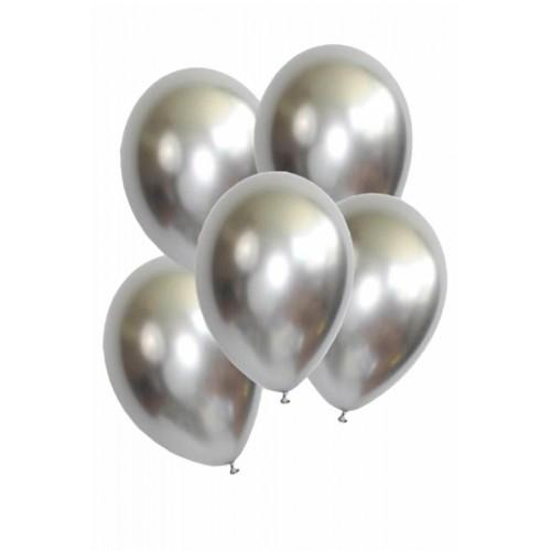 5 Adet 1.Kalite Gümüş Gri Renkli Parlak Krom Metalik Aynalı Balon