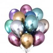 5 Adet 1.Kalite Renkli Parlak Krom Metalik Balon Aynalı Balon