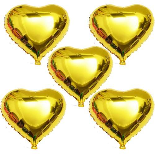 5 Adet Altın Sarısı Gold Folyo Kalp Balon 60cm Helyumla Uçan