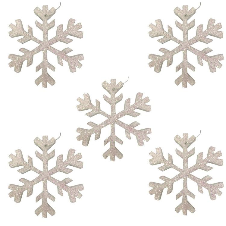 5 Adet Beyaz Buyuk Kar Taneleri 15cm Dekoru Yilbasi Asma Susu