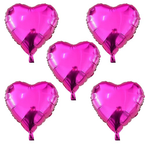 5 Adet Fuşya Koyu Pembe Kalp Folyo Balon 45 cm Helyumla Uçan