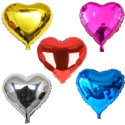 5 Adet Karışık Folyo Kalp Balon 45 cm Helyumla Uçan