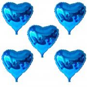 5 Adet Mavi Folyo Kalp Balon 45 cm Helyumla Uçan