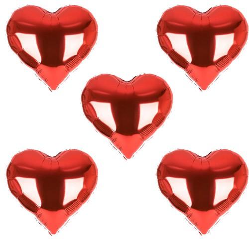 5 Adet Orta Kırmızı Folyo Kalp Balonlar 60 cm Helyumla Uçan