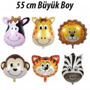 6 Adet Safari Konsepti Doğum Günü Hayvan Folyo Balon Seti