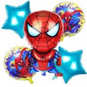 5 Adet Spiderman Baskılı Folyo Balon Seti, Örümcek Adam Konsepti