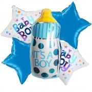 5'li Mavi Bebek Temalı Folyo Balon Doğum Odası Helyumla Uçan