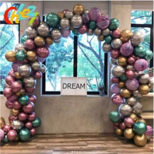 5 Metre Zincirli Krom Balon Doğum Günü Seti 125 Adet Krom Balon Karışık Kb1247