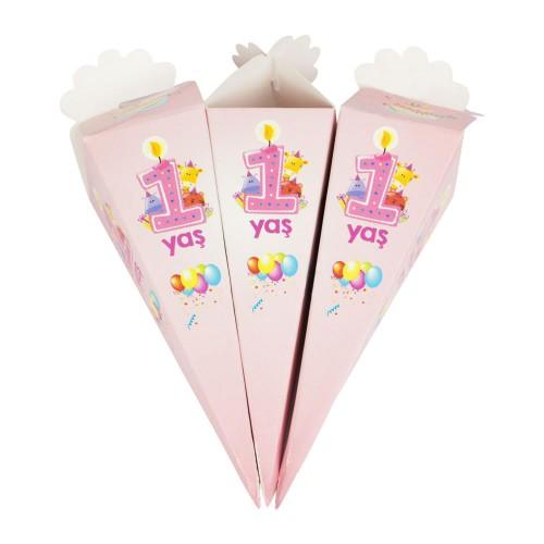 50 Ad 1 Yaş Kız Doğum Günü Külah İlk Yaş Şeker Lokum İkram Kutusu