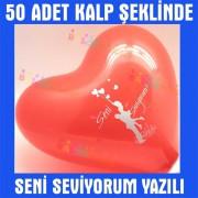 50 Adet Kırmızı Kalp Balonu Seni Seviyorum Yazılı Baskılı