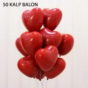 50 Adet Kırmızı Baskısız Kalp Balonu 30cm Romantik Kalpli Balonlar
