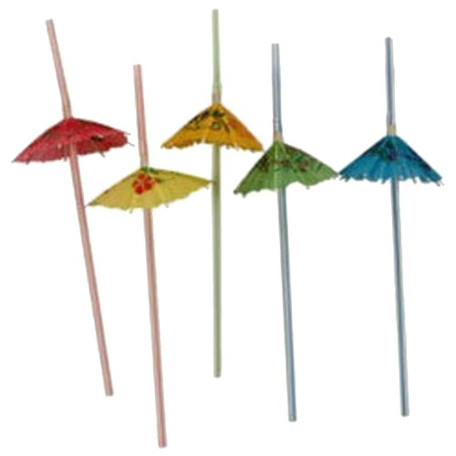 50 Adet Renkli Şemsiyeli Kokteyl Pipet
