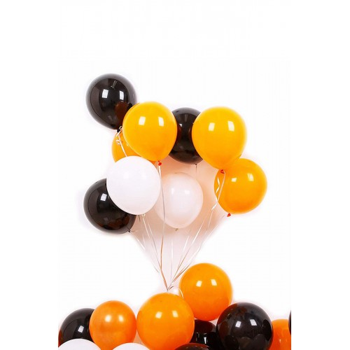 50 Adet Turuncu - Beyaz- Siyah Metalik Balon 3'Lü Renk  - 12 İnç