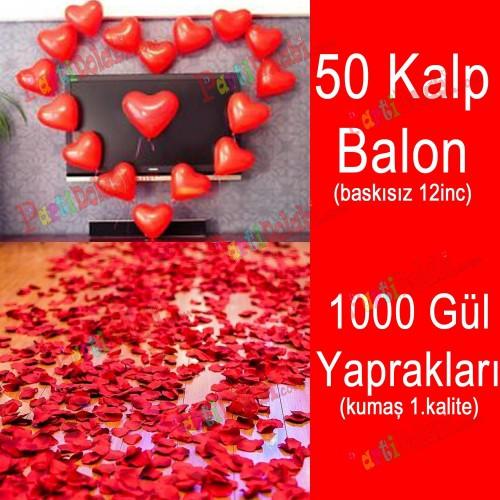 50 Kalp Balon + 1000 Yapay Gül Kalpli Balon Ve Gül Yaprakları