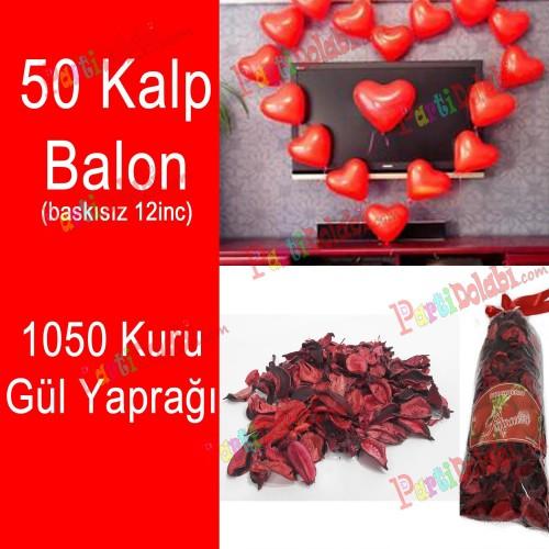 50 Kalp Balon + 1050 Kuru Gül, Kalpli Balon ve Gül Yaprakları