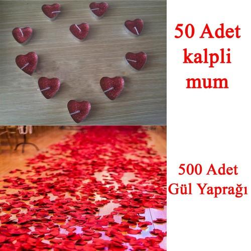 50 Mum + 500 Kumaş Gül Yaprağı Kalpli Mum ve Yapay Gül Yaprakları