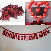 600 Kuru gül yaprağı + 10 Kalp Balon + Evlilik Teklifi Yazısı 100cm