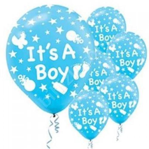 56 adet Mavi It's a Boy Balonu Hastane Bebek Balloon Doğum Odası Erkek