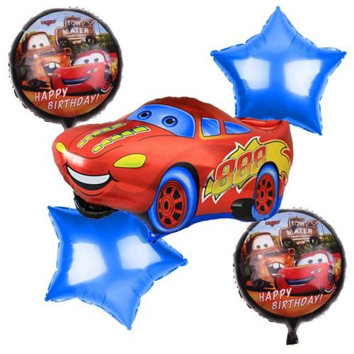 5li Cars Baskılı Folyo Balon Seti, Arabalar Konsepti Helyumla Uçan