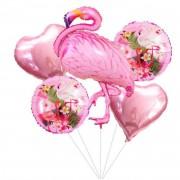 5li Flamingo Temalı Folyo Balon Seti, Doğum Günü Parti Balonu
