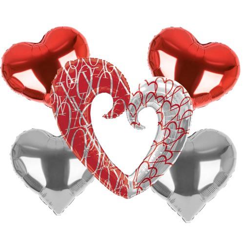 5li Kırmızı-Gri Renk Folyo Kalp Balon Seti