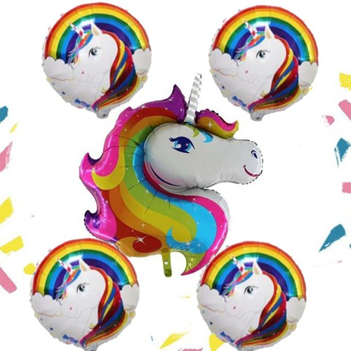 5li Unicorn Baskılı Folyo Balonu Seti Tek Boynuzlu At Konsepti