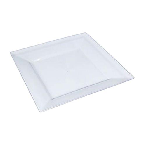 6 Ad Sert Plastik Şeffaf Kare Tabak, Nişan Düğün Masası Şık Supla