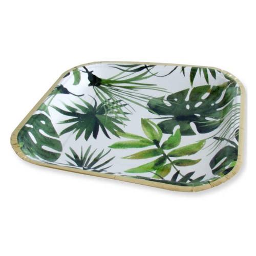6 Ad Yaprak Desenli Karton Kare Tabak, 23 cm Tropik Parti Tabağı