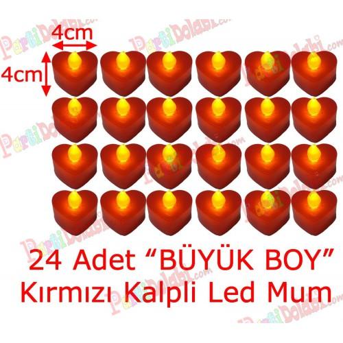 24 Adet 4x4cm Işıklı Kalp Mum Görünümlü, Kırmızı Led Mum