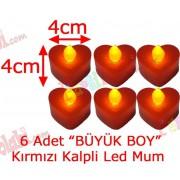 6 Adet 4x4cm Işıklı Kalpli Mum Görünümlü, Kırmızı Led Mum