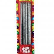 6 Adet Gümüş Gri İnce, Uzun Pasta Mumu Uzunluk 14 cm