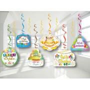 6 Adet İyi Ki Doğdun Yazılı Renkli Sarkıt, Doğum Günü Yaylı Set