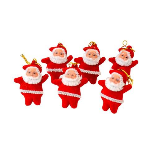 6 Adet Küçük Noel Baba Yılbaşı Çam Ağacı Süsü