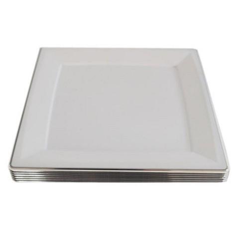 6 Adet Metalize Gümüş Gri Kare Kağıt Supla Tabak
