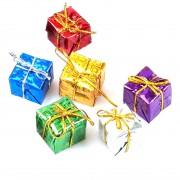 6 Adet Rengarenk Hediye Paketi Görünümlü Yılbaşı Ağacı Süsü