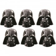 6 Adet Star Wars Darth Vader Karton Çocuk Parti Yüz Maskesi