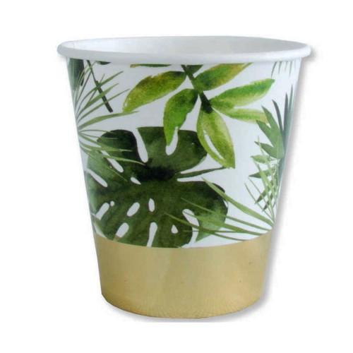 6 Adet Yaprak Desenli Karton Bardak, 220 ml Tropik Parti Bardağı
