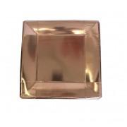 6 lı Gold Rose Kağıt Kare Tabak, Metalize Doğum Günü Tabağı