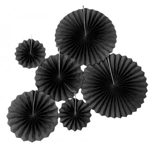 6 Parça Siyah Kağıt Yelpaze Süsü, Asma Duvar Parti Süslemeleri