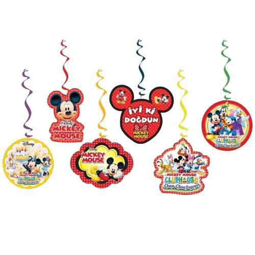 6lı Mickey Mouse Partisi Konsept Organizasyonu Yazı Süsleri