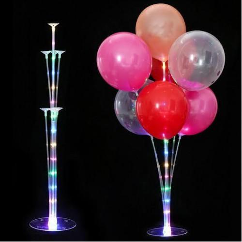 7 Balon Hediyeli Ayaklı Işıklı Balon Standı Doğum Günü