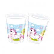 8 Adet Unicorn Baskılı Plastik Bardak, Tekboynuz At Doğum Günü