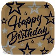 8 li Altın Sarısı Gold Kare Tabak, Yetişkin Happy Birthday Yazılı